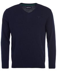 Barbour Essential Lambswool V Neck Sweater - Blue