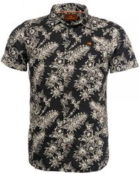 Scotch & Soda Mens Regular Fit Printed Short Sleeve Shirt - Black