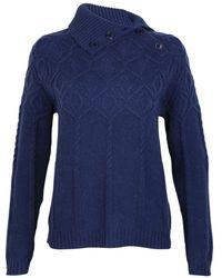 GANT C.diamond Cable Turtle Neck Ladies Sweater - Blue