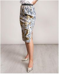 Ted Baker 2 Way Snake Sequin Midi Skirt - Gray