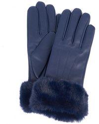 Barbour Fur Trimmed Leather Gloves - Blue