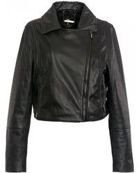 Ted Baker Zip Hem Leather Biker Jacket - Black