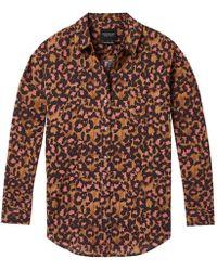 Maison Scotch - Relaxed Fit Drop Shoulder Cotton Viscose Button Up Womens Top - Lyst