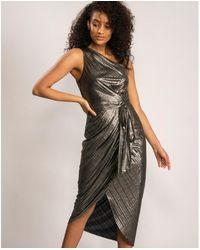 Ted Baker Women's Gabria One Shoulder Drape Midi Dress Gold - Metallic