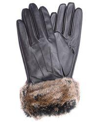 Barbour - Fur Trimmed Leather Gloves - Lyst