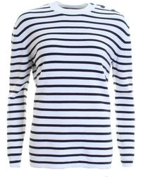French Connection Mozart Milano Stripe Long Sleeve Crew Neck - Blue