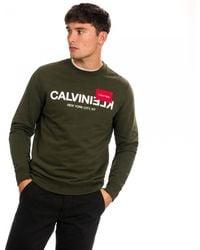 Calvin Klein Text Reverse Logo Sweatshirt - Green