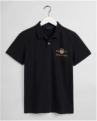 GANT D1. Archive Shield Ss Pique Polo Shirt - Black