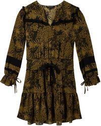 Maison Scotch - Long Sleeve Printed Contrast Ruffle Womens Dress - Lyst