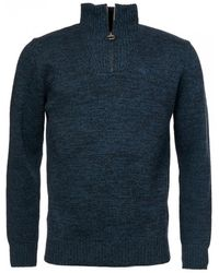 Barbour Essential Lambswool Half Zip Sweater - Blue