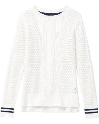 Crew Tipped Cable Womens Jumper - White