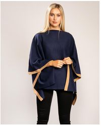 Joules Knitted Milano Stitch Contrast Tipping Poncho - Blue