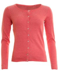 LILY & ME Lands End Pointelle Plain Marl Womens Cardigan - Pink