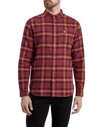 Lyle & Scott Buttondown Windowpane Check Shirt - Red