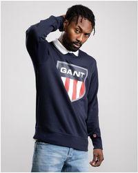GANT D1. Retro Shield C-neck Sweatshirt - Blue