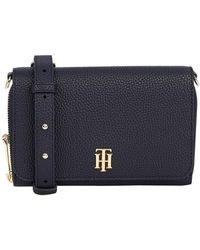 Tommy Hilfiger Th Soft Small Logo Leather Cross Body Bag - Blue