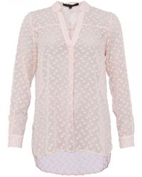 French Connection Lucy Sheer Ls Pop Over Shirt - Pink
