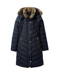Joules Cherington Chevron Quilted Longline Padded Coat A/w - Blue