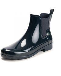 HUNTER Original Refined Gloss Chelsea Ladies Boot - Black