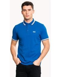 BOSS Athleisure Paddy Regular Fit Three Button Mens Polo Shirt - Blue