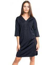 Maison Scotch V-neck Sweat Panel Sleeved Dress - Black