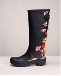 Joules With Adjustable Back Gusset Welly Print Welly - Blue