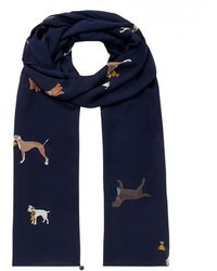Joules Lightweight Printed Scarf Eco Conway - Blue