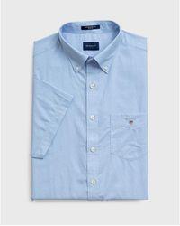 GANT The Broadcloth Short Sleeve Shirt - Blue
