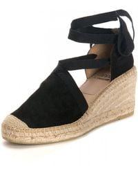 Kanna Ania Cortina Wedged Tie Sandals - Black