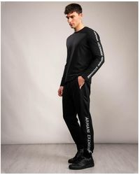 Armani Exchange Logo Strip Sweatpants - Black