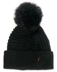 Woolrich Fur Pom-pom Wool Beanie - Black