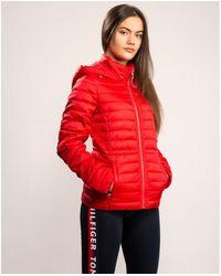 Tommy Hilfiger Down Alternative Hooded Jacket - Red