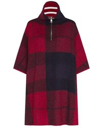 Tommy Hilfiger Icon Zipper Check Cape Jumper - Red