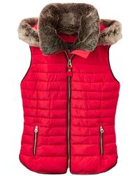 Joules - Melbury Padded Womens Gilet With Fur Hood Trim (z) - Lyst