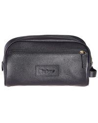 Barbour Leather Wash Bag - Black