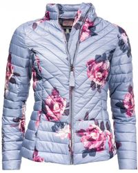 Joules Elodie Printed Chevron Quilted Womens Jacket (z) - Multicolour