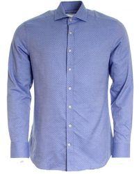 Hackett Flannel Paisley Shirt (aw16) - Blue