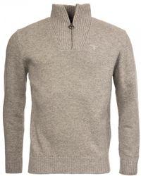 Barbour Essential Lambswool Half Zip Jumper - Gray