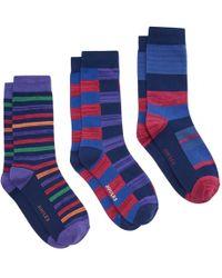 Joules Socks & Shares 3 Pack Mens Cotton 3 Pack Socks S/s - Blue
