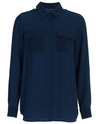 French Connection Pippa Plains Classic Ladies Shirt - Blue