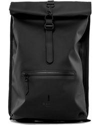 Rains Black Roll Top Rucksack Backpack