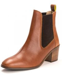 Joules Womens Heeled Leather Boot A/w - Brown