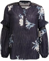 French Connection Ellette Mix Frill Sleeve Womens Blouse - Blue