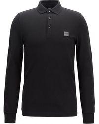 BOSS by Hugo Boss Slim-fit Passerby Long Sleeve Polo Shirt - Black