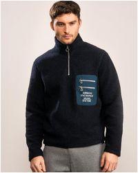 Armani Exchange Logo Half Zip Sweatshirt - Blue