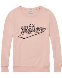 Maison Scotch Crew Neck Graphic Sweat - Pink