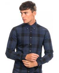 Calvin Klein Check Washed Slim Shirt - Blue