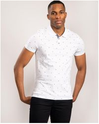 Ted Baker Ss Palm Tree Printed Polo - White