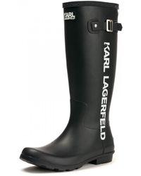 Karl Lagerfeld Kalosh Karl Band Womens Wellington Boot - Black