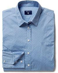 GANT - Broadcloth Stretch Dot Ladies Shirt - Lyst
